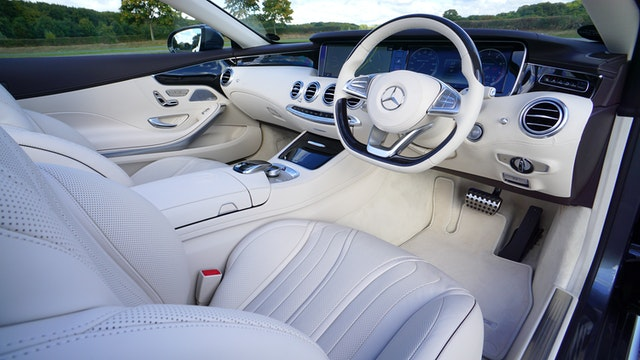 White Mercedes Benz interior design.